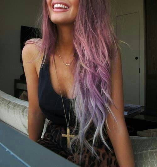 pastel pink, purple, and blue ombre long wavy and curly hair