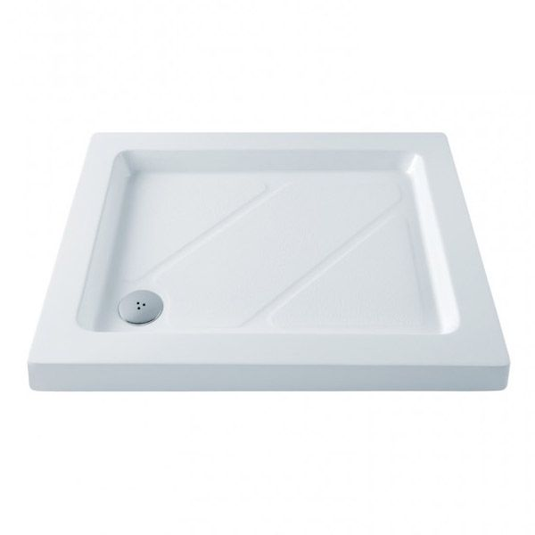 MX - Classic Flat Top Rectangular Stone Resin Shower Tray with free waste