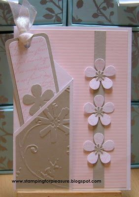 Lovely Pink Embossed Card...with flowers, and a pocket for a sweet bookmark. Nice gift card. I could not find the instructions for this one although I am sure it is somewhere in the archives. Stamping For Pleasure Blog.