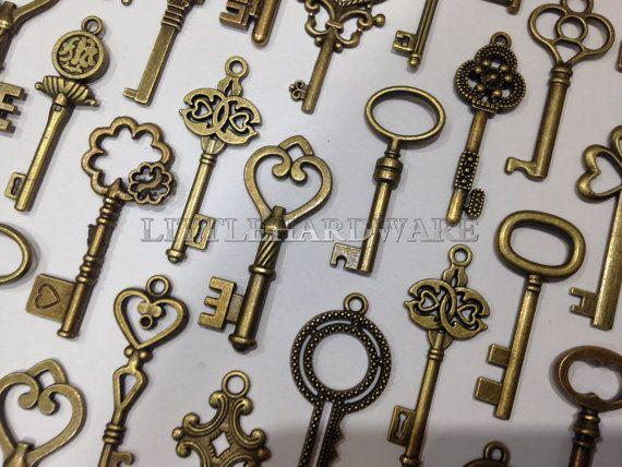 100er vintage Krone Schlüssel antiken von LittleHardware auf Etsy