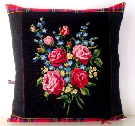 French Unique Vintage Needlepoint Tapestry Rose by Retrocollects, £30.00