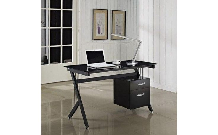 Black Computer Desk File Cabinet Drawer Pc Office Modern Game Workstation Table