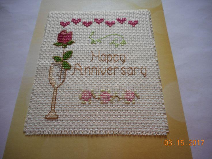 cross stitch anniversary card etsy shop DebbyWebbysCards