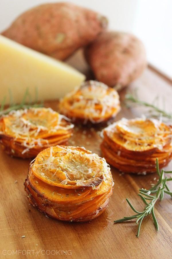 Crispy Parmesan-Rosemary Sweet Potato Stacks