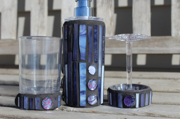 Lavender and purple three pieceart glass mosaic set soap/lotion dispenser, toothbrush holder and tumbler, mosaic bathroom set, glass mosaic by 3GearsGlassAndGifts on Etsy