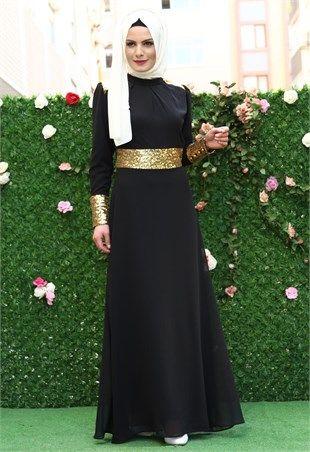 Ravza Pullu Şifon Elbise Siyah 5740
