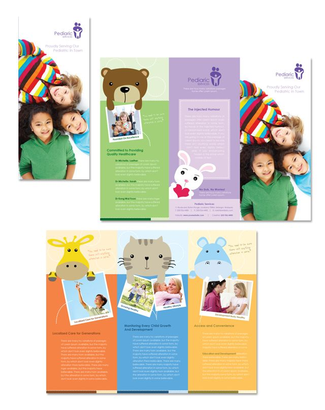Pediatrician child care tri fold brochure template for Free brochure templates for kids