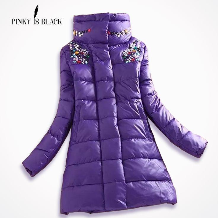 2016 winter jacket women fashion slim medium-long coat parka female diamond outerwear women down cotton-padded jackets and coat