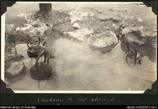 Via: @nlagovau Cooking in the hot springs, Rotorua, New Zealand, 1929. Source: National Library of Australia
