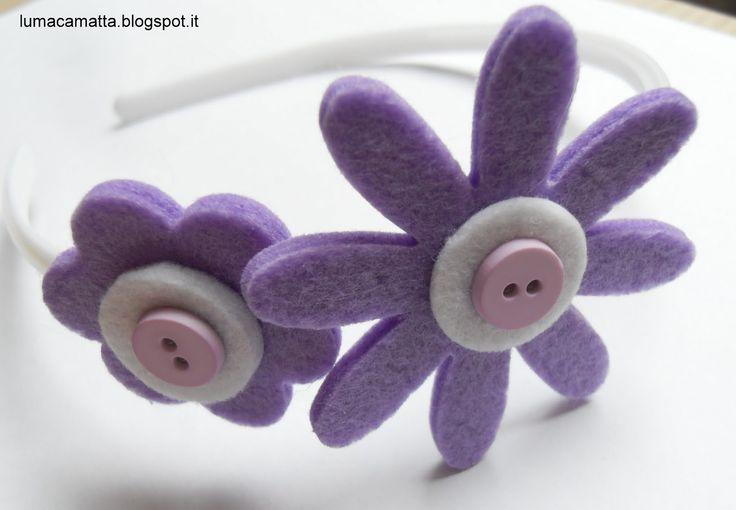 Cerchietti per capelli: fiori lilla e bottoncini @ Lumaca Matta