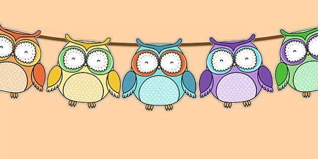 Симпатичные Сова Themed Бантинг - симпатичная сова, овсянка, овсянка дисплей, дисплей
