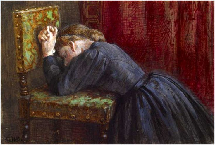 <i>Woman Kneeling in Prayer</i> by George Henry Broughton, ca. 1860.