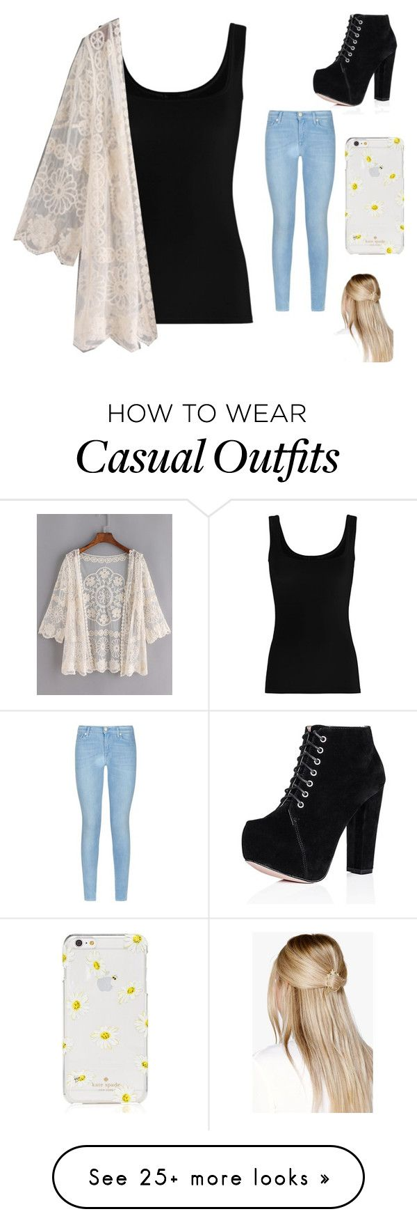 """Casual date"" by elafashion114 on Polyvore featuring Twenty, 7 For All Mankind, Kate Spade and Boohoo"