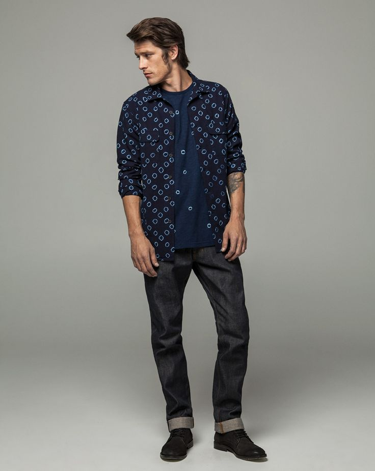 Workshop Denim Hand Dyed Slub Tee - Indigo, Patch Pocket Rever Collar Shirt - Indigo Spot, Slim Fit Selvedge - Dk Indigo