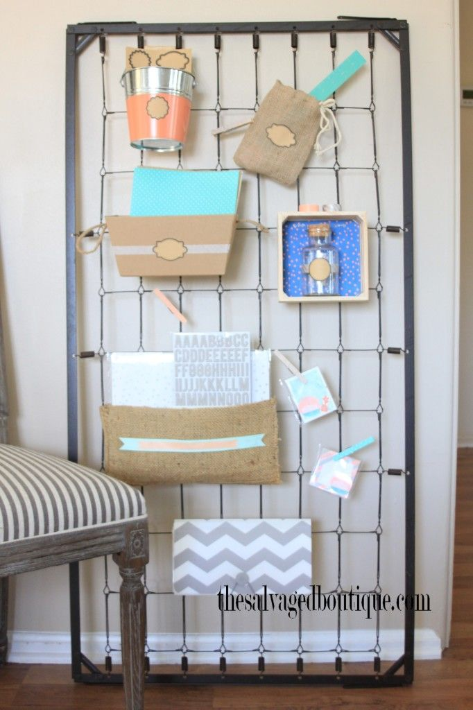 Create a wall organizer with an old baby crib spring | The Salvaged Boutique - Best 25+ Crib Spring Ideas On Pinterest Baby Crib Spring Ideas