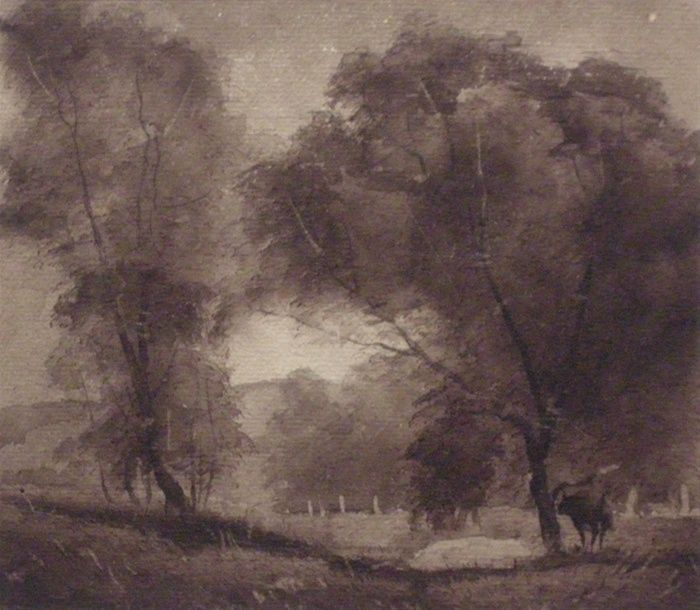 Godfrey Miller, Warrandyte landscape, 1920s, ink wash on paper