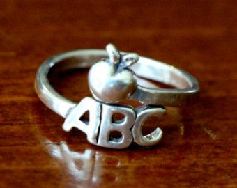 Teacher Sterling Silver Adjustable Ring, ABC Apple Ring, Class Gift, Education Major Grad Gift