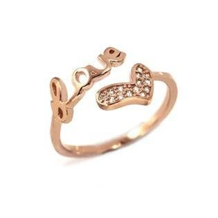 Love ring silver ring rose gold filled ring cubic zirconia
