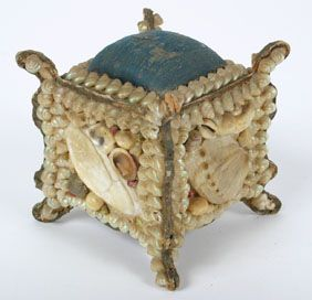 Victorian Shell Art Shaped Footed Pincushion Box