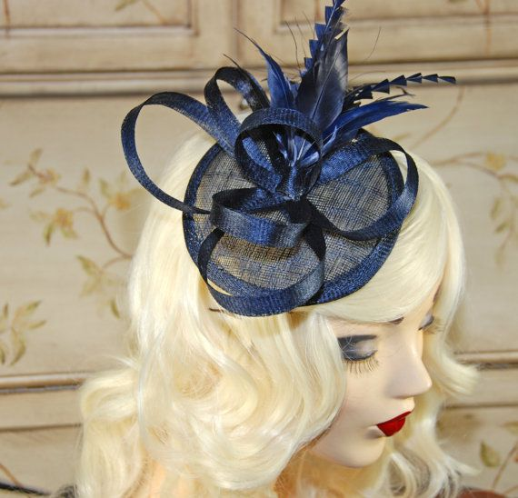 Navy blue fascinator - Made popular by British royalty, fascinators are a great alternative to a traditional hat and a fun way to add a chic and