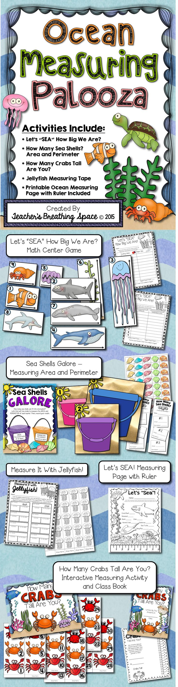 Ocean Measuring Palooza --- Five super fun, super CUTE ocean-themed measuring activities!