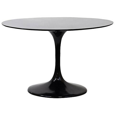 Lippa High-Gloss Black Round Dining Table  39 dia  also in white