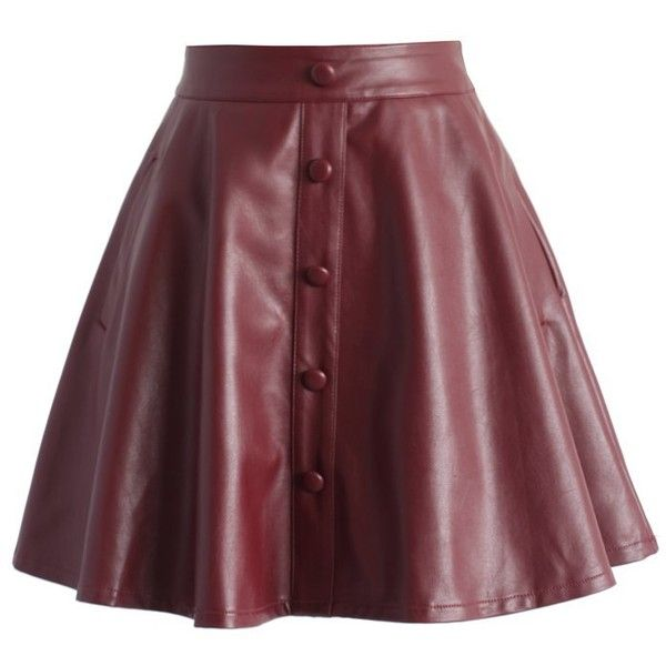 Chicwish Nappa Faux Leather A-line Skirt in Wine ($42) ❤ liked on Polyvore featuring skirts, red, red skirt, fake leather skirt, red a line skirt, vegan leather skirt and red knee length skirt