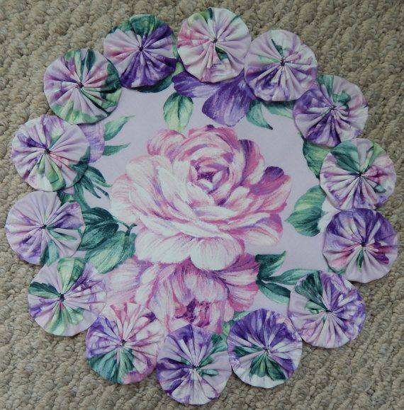12 Painted Pink Rose Doily by SursyShop on Etsy