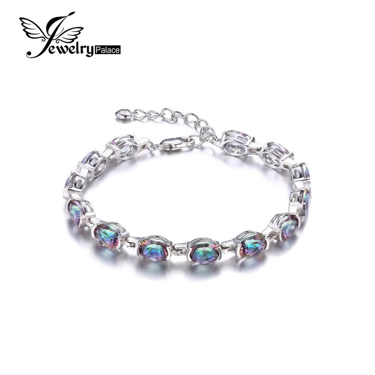 JewelryPalace 15ct Concave Oval Mystical Rainbow Topaz Bracelet Oval Cut Solid 925 Sterling Silver Vintage Jewelry For Women