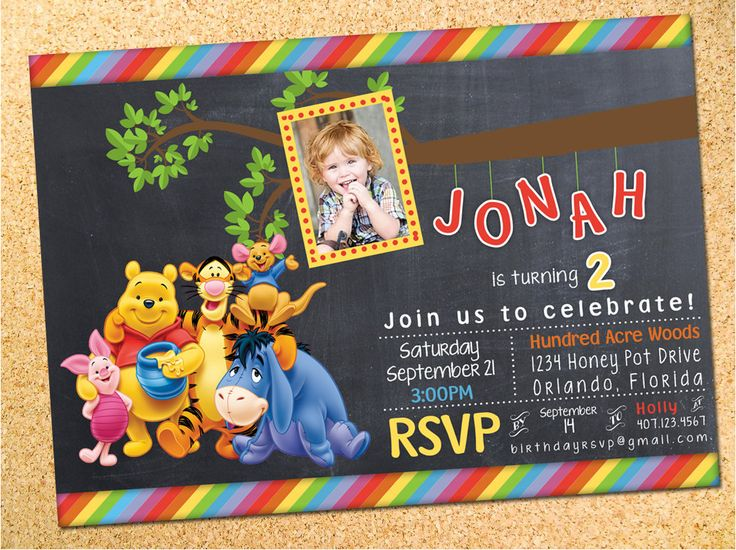 Winnie the Pooh Chalkboard Birthday Party Photo Invitation - Customizable - Printable - DIY by Owen & Sally Designs