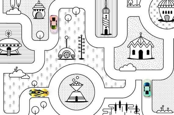 Monochrome Nursery / Game Road Map City Rug Kids by petekdesign