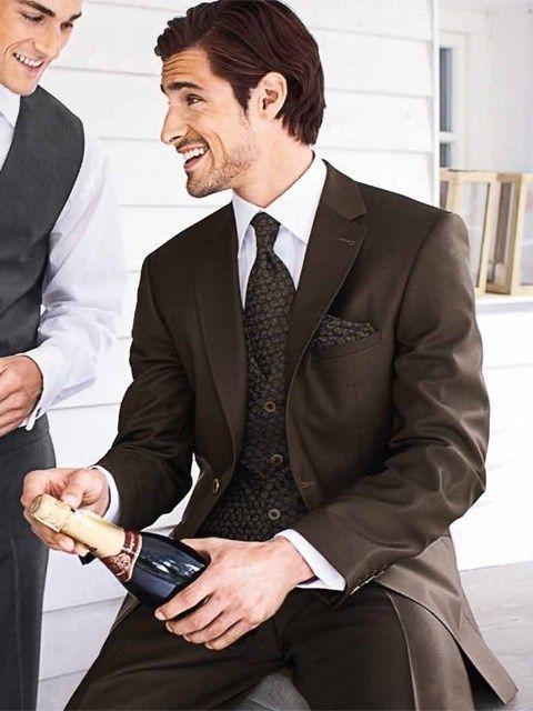 Pánsky svadobný oblek matný hnedý PO24 - Svadobný salón Valery