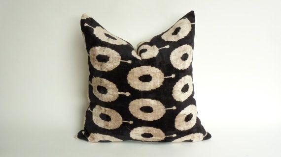 silk velvet pillow case // velvet ikat pillow // black and cream pillow // silk…