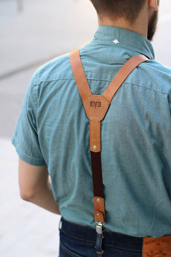 Light Ginger leather suspenders leather braces by MenEvolution