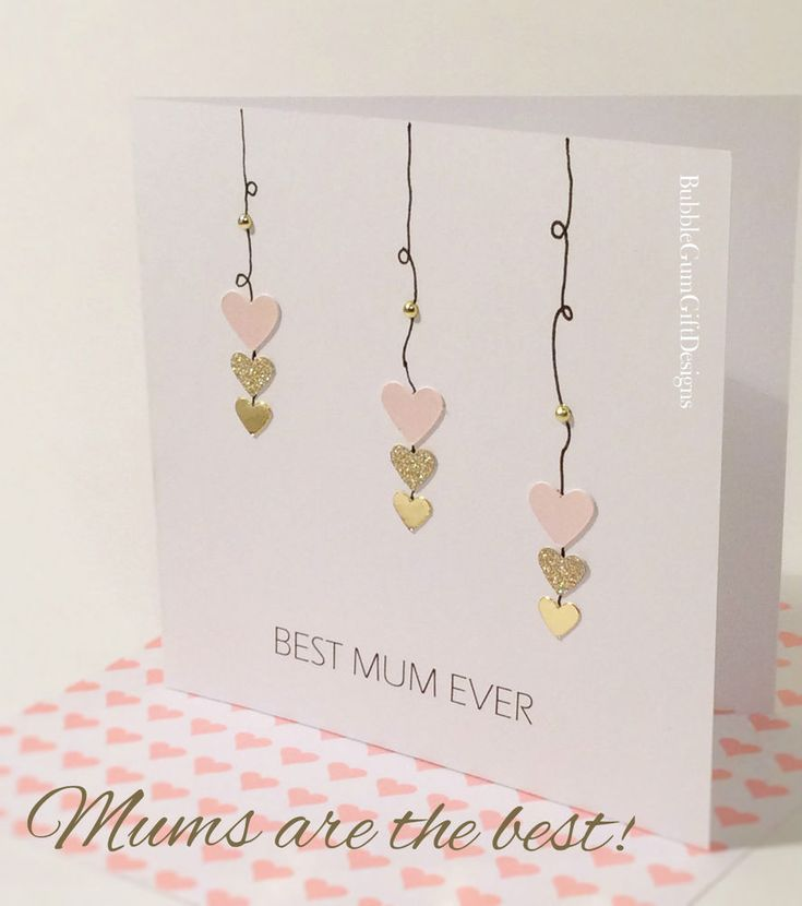 Card For Mum Mummy Happy Mothers Day Mothering Sunday Heart Best Handmade