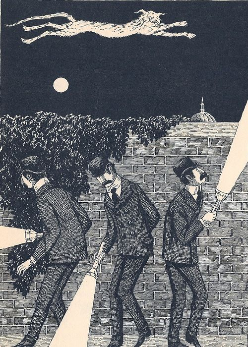 """Macavity: The Mystery Cat, from T.S. Eliot's Old Possum's Book of Practical Cats,"" illustration by Edward Gorey (1982)"