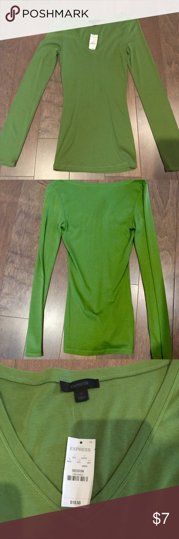 Express long sleeve v-neck woman's size med new Express long sleeve v-neck green woman's size med new with tags mint condition paid 19.50 great deal Express Tops Tees - Long Sleeve