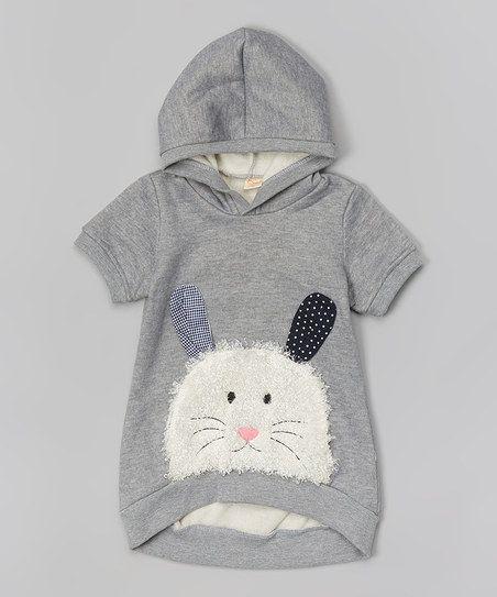 Gray Bunny Hoodie - Toddler & Girls