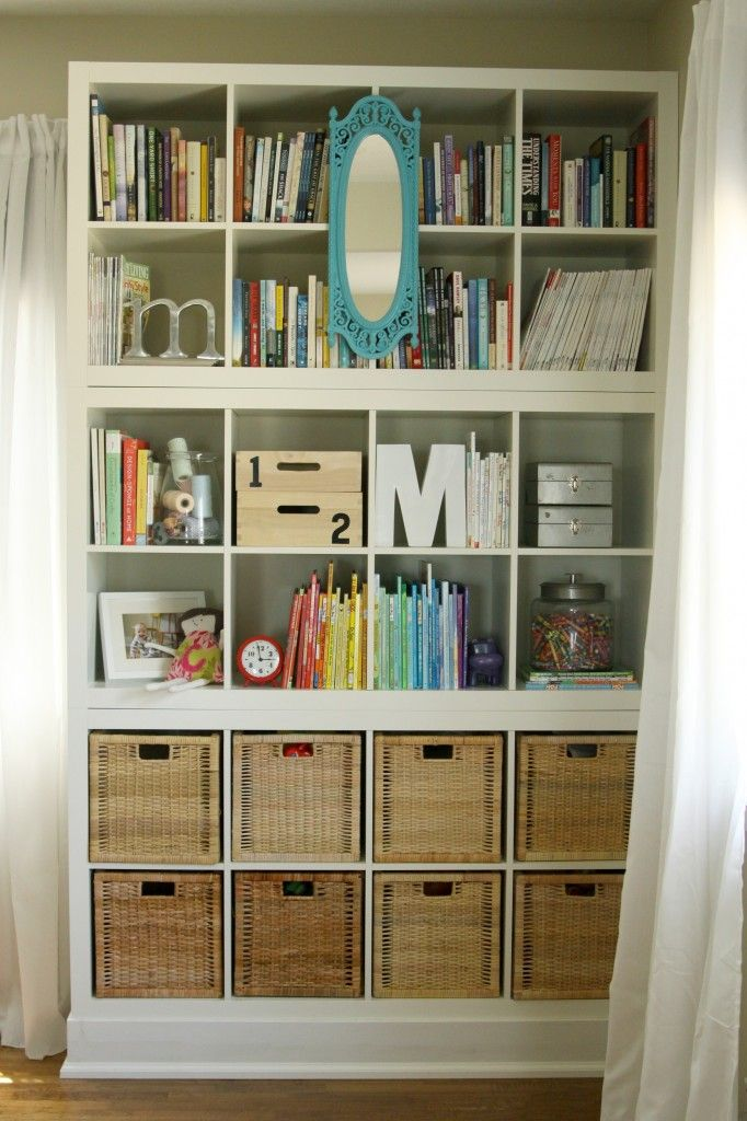 "Have Jay create ""built in"" book shelves in study room. Ikea Hacks. IKEA Expedit Bookcase Hack: Mount them on a base & trim the base with baseboard. Could also add molding to the top with wood glue."