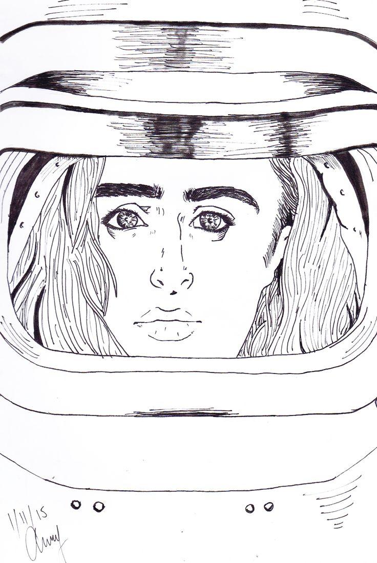 Space Girl - BY Anthony Keutzer #Space #Girl #Ink #Sketch #Anthony #Keutzer #Pop #Art