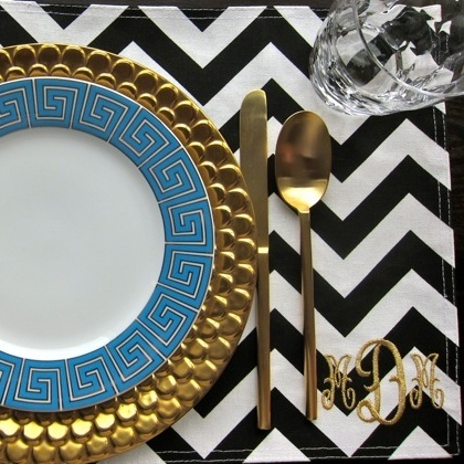 Love It All   The Blue And White Greek Key Plate, Black And White Chevron  Placemat Monogrammed In Gold, The Gold Charger   So Chic  Love The Idea Of  ...