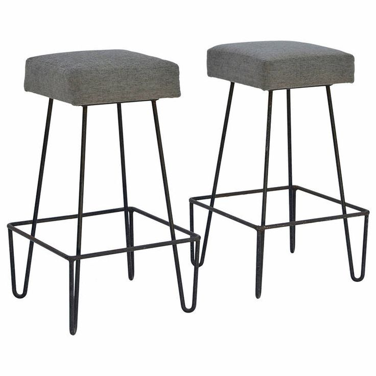 Pair of Unusual Square Modernist Wrought Iron Bar Stools | From a unique collection of antique and modern stools at https://www.1stdibs.com/furniture/seating/stools/