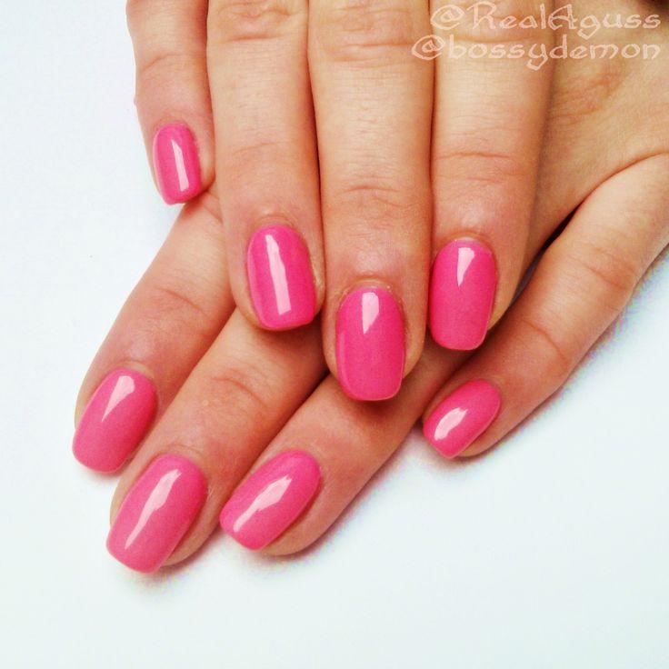 "#Barbie pink nails i did on @Lalafuu  (IG @ BOSSYDEMON) using @semilac gel polish in Intense Pink ""046 #semilac #gelpolish #intensepink #semigirls #pinknails"