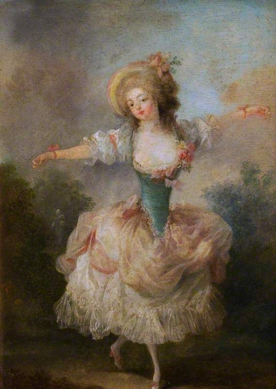 The Athenaeum - A Dancer with Arms Outstretched (Jean-Frédéric Schall - ) Owner/Location:	 Waddesdon Manor (National Trust, UK) (United Kingdom)      Dates:	circa 1775-1790 Artist age:	Approximately 38 years old. Dimensions:	Height: 31.5 cm (12.4 in.), Width: 24 cm (9.45 in.)