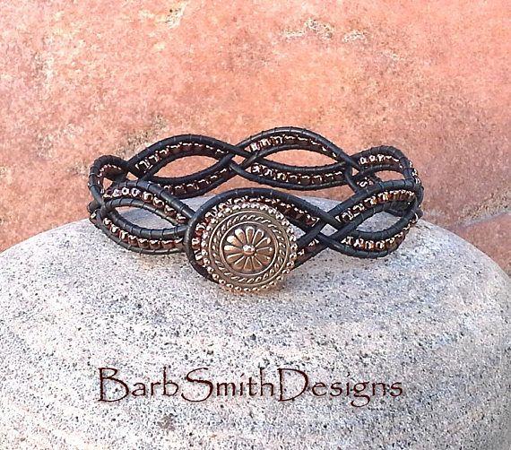 Negro cuero cobre Wrap brazalete pulsera - una delicada en negro n' cobre - personalizar!