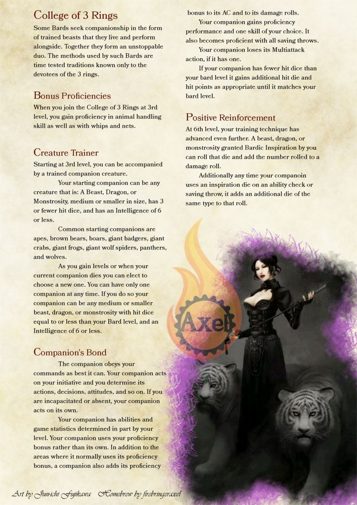 The College of 3 Rings, a Animal Trainer Bard subclass. Homebrewed for Dungeons and Dragons 5th Edition by me. Artists are tagged at the bottom of each page. Full 2 page in PDF. PDF