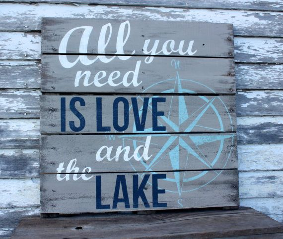 Add a little charm to your lake house with this hand painted repurposed pallet. 28 x 28 great for the inside or out