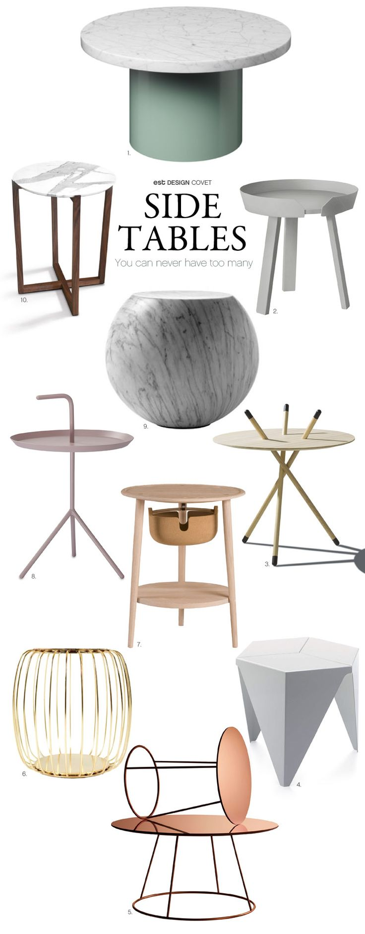 Design covet side tables although small these tables can pack a punch a side table should never be forgotten or left out of any interior and you can