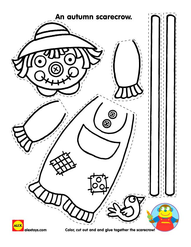Cut along the dotted lines and assemble a cute scarecrow with our free autumn printable!