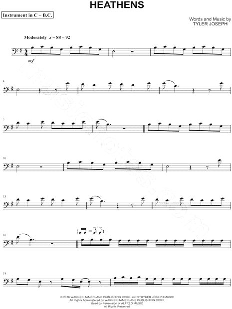 Print and download Heathens - Bass Clef Instrument sheet music by